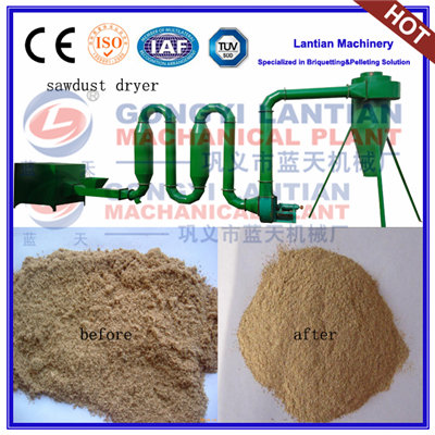 Air-flow pipe sawdust dryer